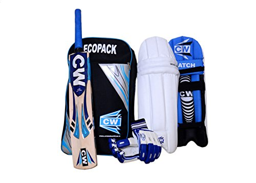 CW Sports Practice Training Club Matches Blue Cricket Set Kit With Kashmir Willow Cricket Bat Thigh Guard,Batting Glove,Batting Pad (Size Senior _Ideal for 13 + Year ()