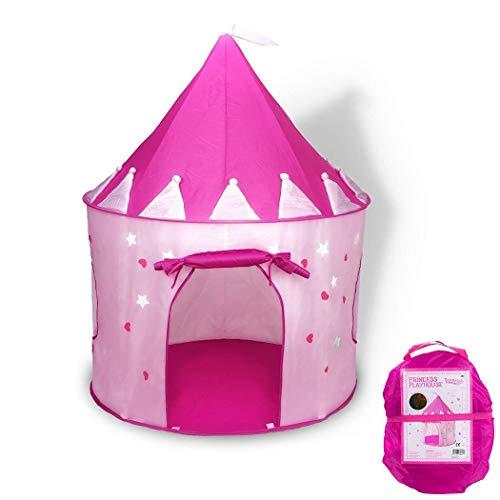 omdoxs Carpa Plegable, Tienda campaña Infantil para niños/casa de Juego en Forma de Castillo - Rosa