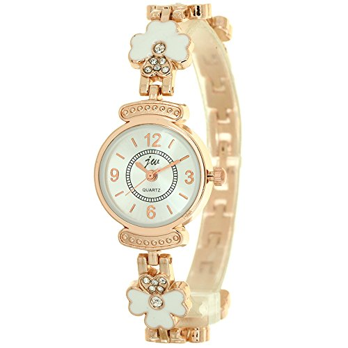 Gold Cloisonne Charming Clover Jewelry Chain Quartz Wrist Watch Ladies Womens Crystal Accented Rose Gold-Tone Charm Bracelet Watch Band Stylish Fashion Girls Mini Size Watches from TimeMax