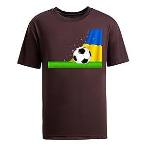 Custom Mens Cotton Short Sleeve Round Neck T-shirt,2014 Brazil FIFA World Cup Soccer Ukraine brown