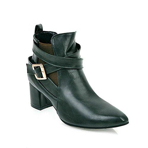 Ankle Metal Buckles Boots High BalaMasa Dress ABL10473 Darkgreen Womens Microfiber p6gqAgIU