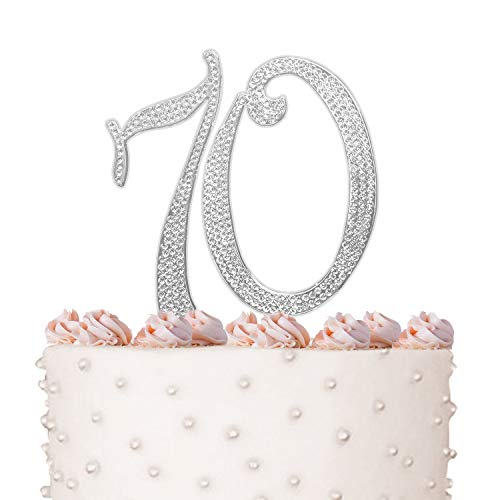 (70, 70th Happy Birthday Cake Topper, Anniversary, Crystal Rhinestones on Silver Metal, Party Decorations, Favors, Vow Renewal)