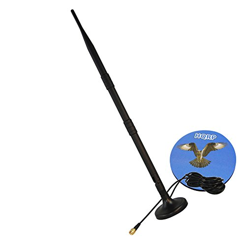 HQRP KIT: 2.4GHz 9dBi Wireless WiFi Wlan Booster RP-SMA Antenna plus HQRP 3M RP-SMA WiFi Antenna Extension Cable Connector Magnetic Base For PCI Card Modem Router Antennas plus HQRP Coaster by HQRP