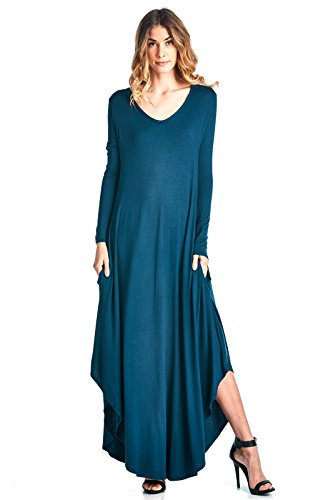 V Sleeve Hem S XXXL Made Teal Neck in Dress Long Ami USA Maxi Curved 12 YqCHwn