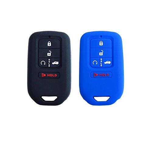 BAR Autotech  Remote Key Silicone Rubber Keyless Entry Shell Case Key Fob Cover fit for Honda Civic Accord CR-V Pilot 2015 2016 2017 (1 Pair) (Black+Blue) ()
