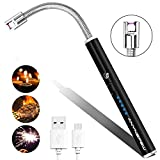 Candle Lighter,Anynepew Electric Arc Lighter with Long Flexible Neck, USB Rechargeable Lighter with LED Battery Display Safety Switch for Camping Grill BBQ Stove Cooking Kitchen Fireworks