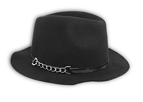 Calvin Klein Women's Black Wool Fedora with Silver Chain One Size Black