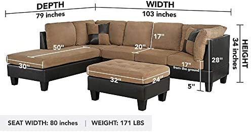 home, kitchen, furniture, living room furniture,  living room sets 11 picture 3-Piece Modern Reversible Microfiber / Faux Leather Sectional promotion
