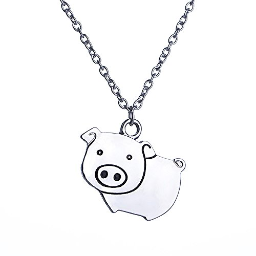 Pig Charm - Meiligo Fashion Woman Girls Zodiac Animals Necklace Rooster Pig Charm pendant necklace (Pig style)