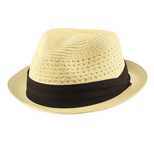 Men's Cool Summer Straw Vented Derby Fedora Upturn Brim Hat L/XL Natural