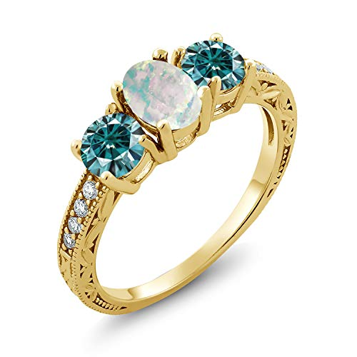 18K Yellow Gold Plated Silver 3-Stone Ring Oval/Cabochon White Simulated Opal and Vivid Blue Created Moissanite 1.00ct (DEW) (Size 9)