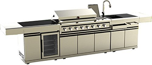 MCP Island Grills Modular 3 Piece Island Electric and Propane or Natural Gas BBQ Outdoor Grill Kitchen, with Wine Refrigerator, Sink, Rotisserie, Black Marble Top and Free Protective Canvas Cover - Bbq Islands