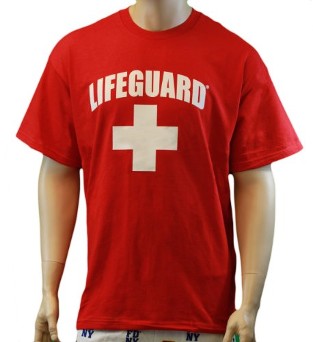 Lifeguard T-Shirt Official Licensed Life Guard Tee Red Medium