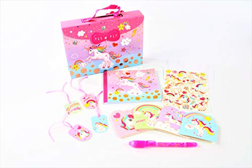 Hot Focus Rainbow Unicorn Secret Keeper Diary Journal Kit-Carrying Case with Passcode Lock Including Rainbow Unicorn Stickers, Cards,Tags, Envelopes, 2-in-1 Secret Message Pen and Journal Diary (Secret Keeper Girl Kit)