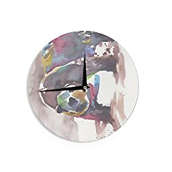 KESS InHouse Rebecca Bender Grizzly Bear Watercolor Abstract Animal Wall Clock, 12