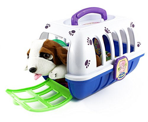 [The Dog Grooming Set, Portable Pet Care Toy Set for Kids - Puppy Included! (10 Pieces); Blue & White] (Doctor Barbie Costume)