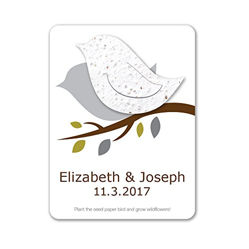 Bloomin Plantable Love Bird Wedding Favor with Seed Paper - White (25 Card Set) ()