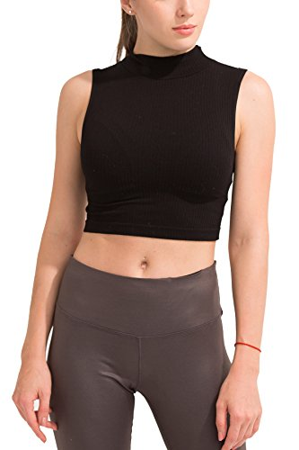 SPECIAL MAGIC Women's Seamless Rib Knit Mock Turtleneck Sleeveless Crop Top Black One Size - Rib Crop