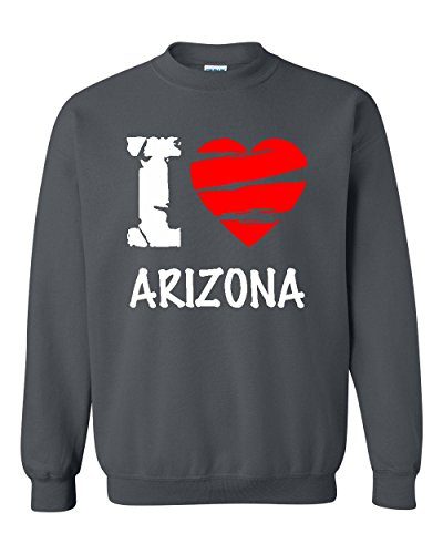 Ugo I Love Arizona AZ Phoenix Map Flag Home of Arizona State University ASU Unisex Crewneck - Az Stores Phoenix Outlet