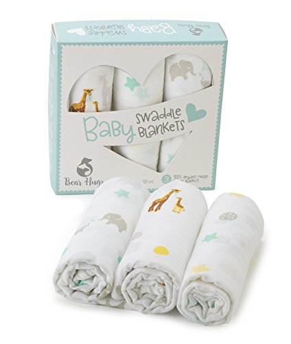 Premium Organic Muslin Swaddle Blankets | 47 x 47 inches ( 3 pack ) | Beautiful Gift Box | Super Soft 100% Muslin Cotton | Great for Boys and Girls - Unisex | Elephant and Giraffe Designs by Bear Hugs Baby