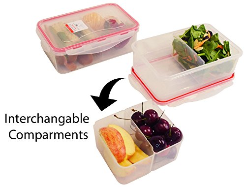 bento lunch box meal prep containers set of 2. Black Bedroom Furniture Sets. Home Design Ideas