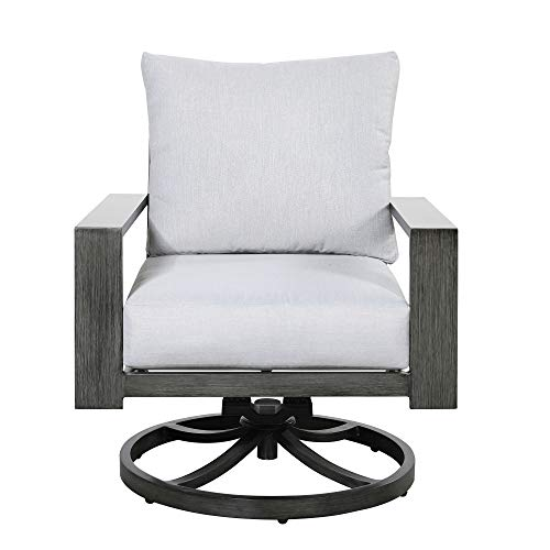 Roscoe Outdoor Swivel Rocker Lounge Chair in Stone White and Deep Gray  with Comfortable Cushions And Durable Materials, by Artum Hill (Outdoor Swivel Rockers)
