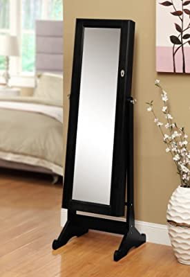 Black Mirrored Jewelry Cabinet Amoire W Stand Mirror Rings, Necklaces, Bracelets