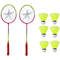 StarX Aluminium Shaft Badminton Racket with Double Wiring Soft Grip, Light Weight and Shuttle Cock for Unisex (Multicolour) Pack of 6