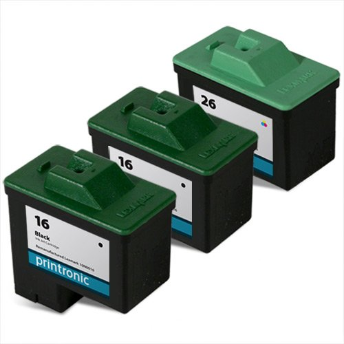 Printronic Remanufactured Ink Cartridge Replacement for Lexmark 16 10N0016 26 10N0026 (2 Black 1 Color) (Remanufactured Inkjet Black Cartridge 10n0016)