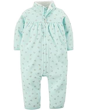 Carters Baby Girls Zip-Up Glitter Heart Print Fleece Jumpsuit 3months