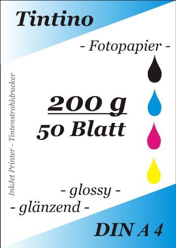 grammatura: 200 g//mq per stampanti a getto dinchiostro asciugatura immediata colore: bianco brillante elevata brillantezza dei colori Tintino 50-200 confezione da 50 Fogli A4 di carta lucida per foto impermeabile