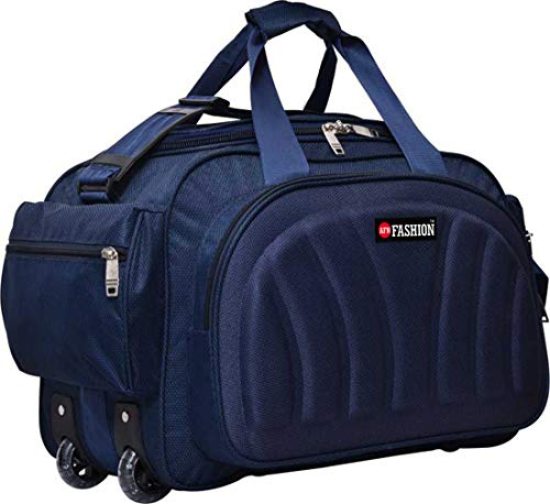 AFN FASHION Polyester Lightweight 60 L Luggage Travel Duffel Bag with 2 Wheels Blue