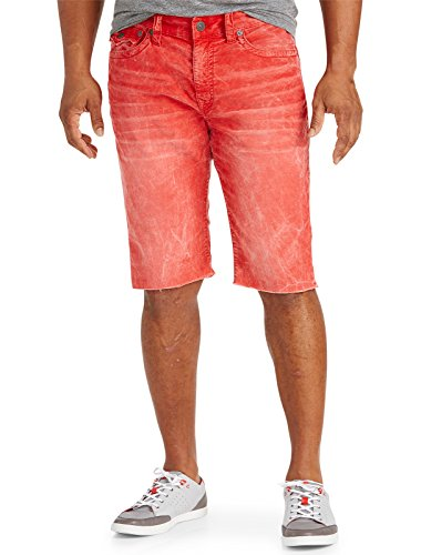 (True Religion Big and Tall Ricky Relaxed Straight Corduroy Cut-Off Shorts Vintage Red 46)