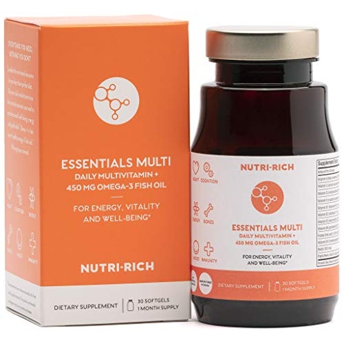 Natural MULTIVITAMIN by Nutri-Rich, Unique Once-Daily Adult Multivitamin Plus Omega-3 Fish Oil! Good for Eyes, Brain, Heart & Energy, HIGH Absorption & Iron-Free (30 Softgels) For Sale