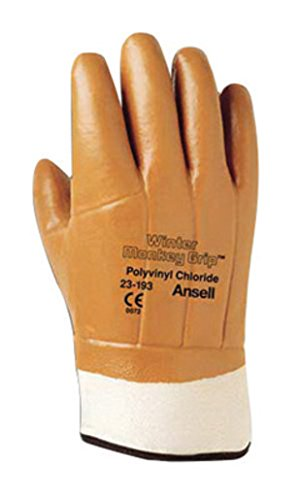 Ansell Gloves Cotton (Ansell Winter Monkey Grip 23-193 Orange 10 Jersey Mechanic's Gloves - Wing Thumb - PVC/Vinyl Full Coverage Coating - 205059 [PRICE is per PAIR])