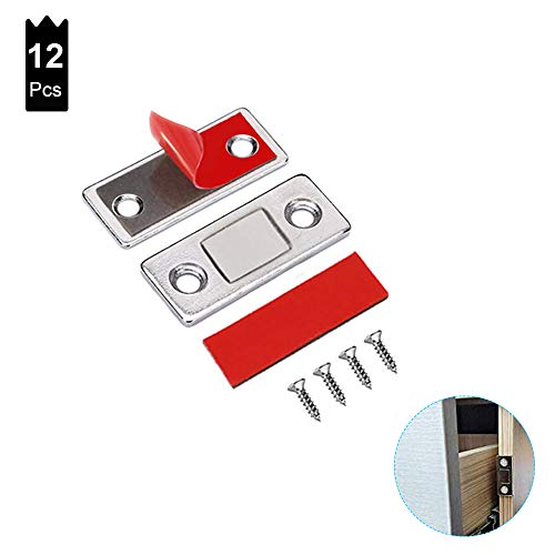 (12 Pack) Ultra Thin Magnetic Cabinet Catch, Magnetic Door Catch,Stainless Steel Closet Catches with Strong Magnetic,Closer Magnet for Sliding Door,Cabinet, Drawer and Window