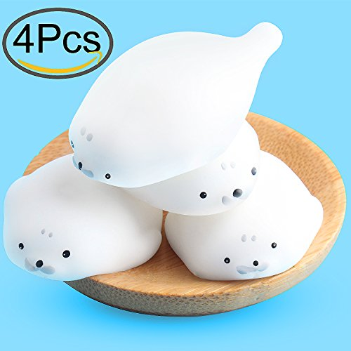 Soft Seal (4 Pcs Mini Kawaii Seal Squishy Soft Squishies Mini Seal Stretchy Squishy Seal Toy Mochi Squeeze Toy by Outee)