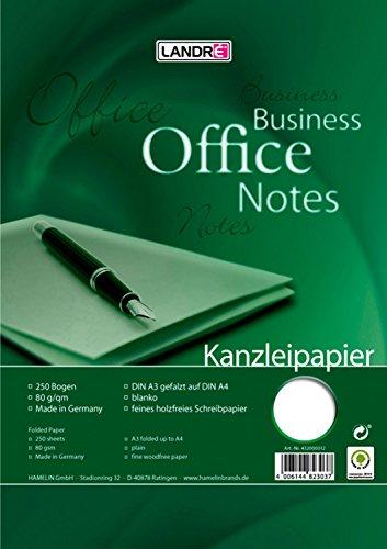 Landre 100050621 Kanzleipapier Office, DIN A3 auf A4 gefalzt, blanko 80 g/qm feines, holzfreies Schreibpapier 250 Bogen je Packung