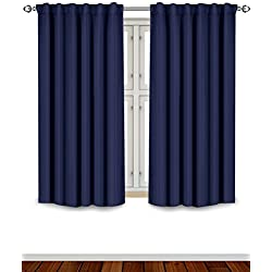 Utopia Bedding Blackout Room Darkening and Thermal Insulating Window Curtains/Panels/Drapes - 2 Panels Set - 7 Back Loops per Panel - 2 Tie Backs Included (Navy, 52 x 63)