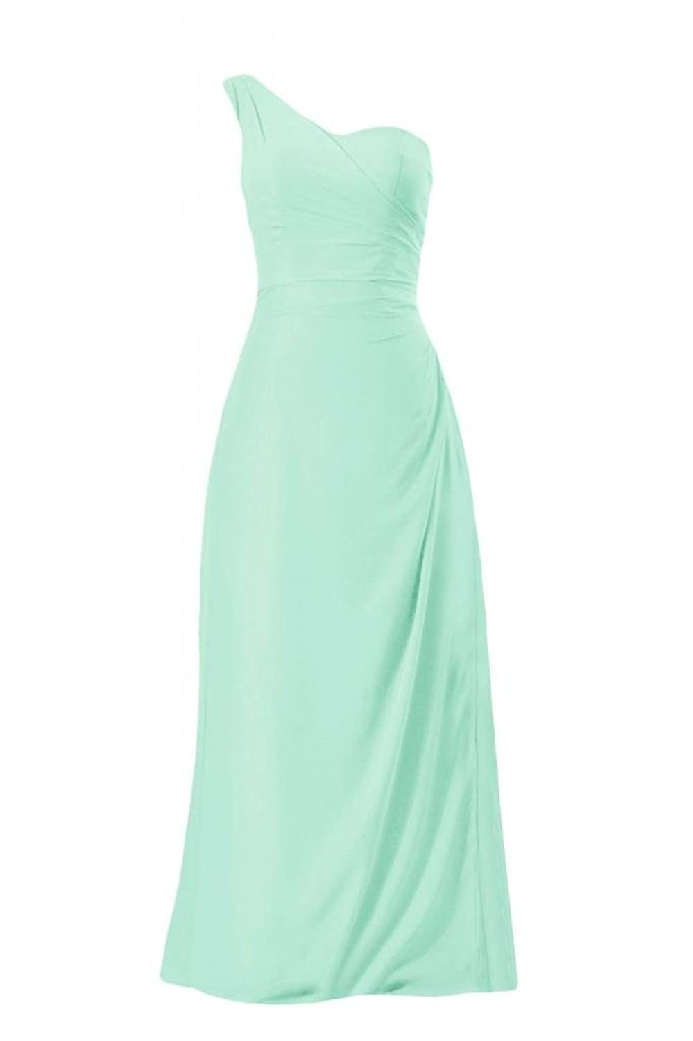 DaisyFormals One Strap Chiffon Bridesmaid Dress Long Chiffon Party Gown(BM7872)