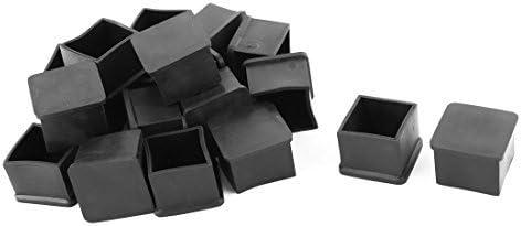 DealMux de Goma dom/ésticos Muebles Silla Tabla Pie Cubierta Protectora Pad Caps 30 mm x 30 mm 19 Piezas Negro