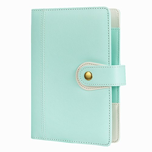 6 Ring Binder Macaron Notebook Travel Journal Agenda Organizer-Harphia,Size 7.48 x 5.51'',with Snap Button(Mint Green) ()