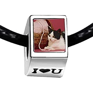 Chicforest Silver Plated Cat With Yarn Photo I Love You Charm Beads Fit Pandora Chamilia Biagi Charm Bracelet