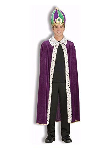 (Forum Mardi Gras King Robe and Crown Set, Purple/Green/Gold, Adult )