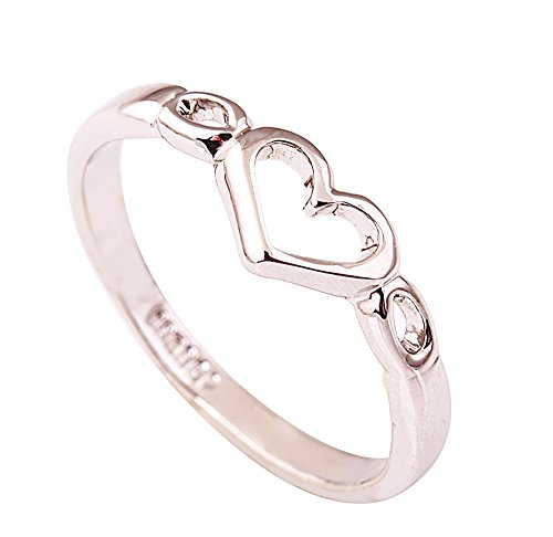 (Acefeel Fresh Style 18K White Gold Plated Heart Shape Womens Girls Ring Gift Size 8)