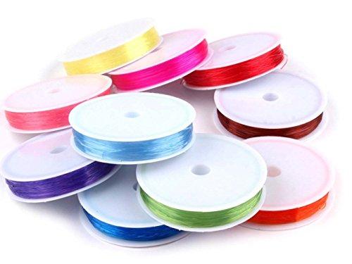 10 Rollen Silikonschnur / Perlenfaden / Schmuckfaden elastisch 0,4-0,6mm 15m Farbmix