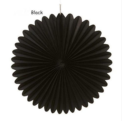 Sorive 5pcs 12 Tissue Paper Fan Party Hanging Fan Flower Wedding Birthday Showers Party Baby Shower Decorations (12 Inch, Black)