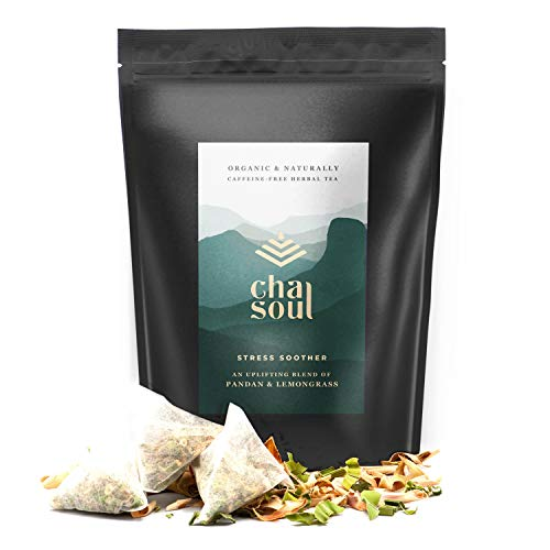 Cha Soul Stress Soother Organic Herbal Tea for Anxiety Relief, Stress Support, Natural Headache and Pain Relief, with full-leaf Lemongrass and Pandan, 20 Biodegradable Tea ()