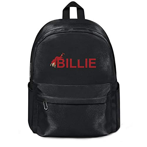 Womens Girl Boys College Bookbag Casual Nylon Packable Travel Daypack Backpack Billie-Eilish-Logo- Bag Black
