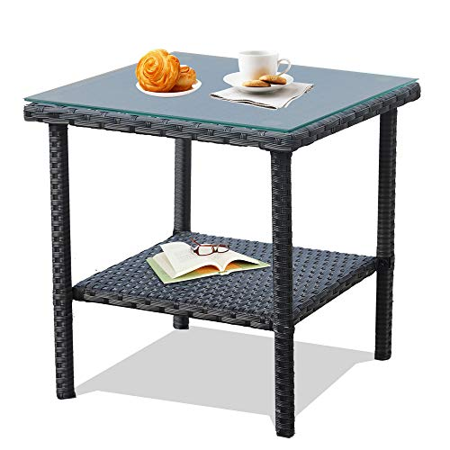 - Patio Side Table Coffee Table Tea Table Mixed Dark Brown Rattan Outdoor Indoor Square Table Balcony Small End Table